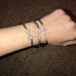 SET silver beaded bracelets